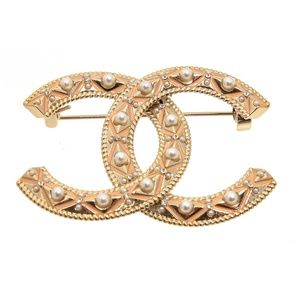 Chanel Gold Coral Faux Pearl Crystal Logo Brooch